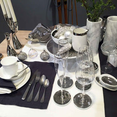 Heals Winter Table Setting White and Silver