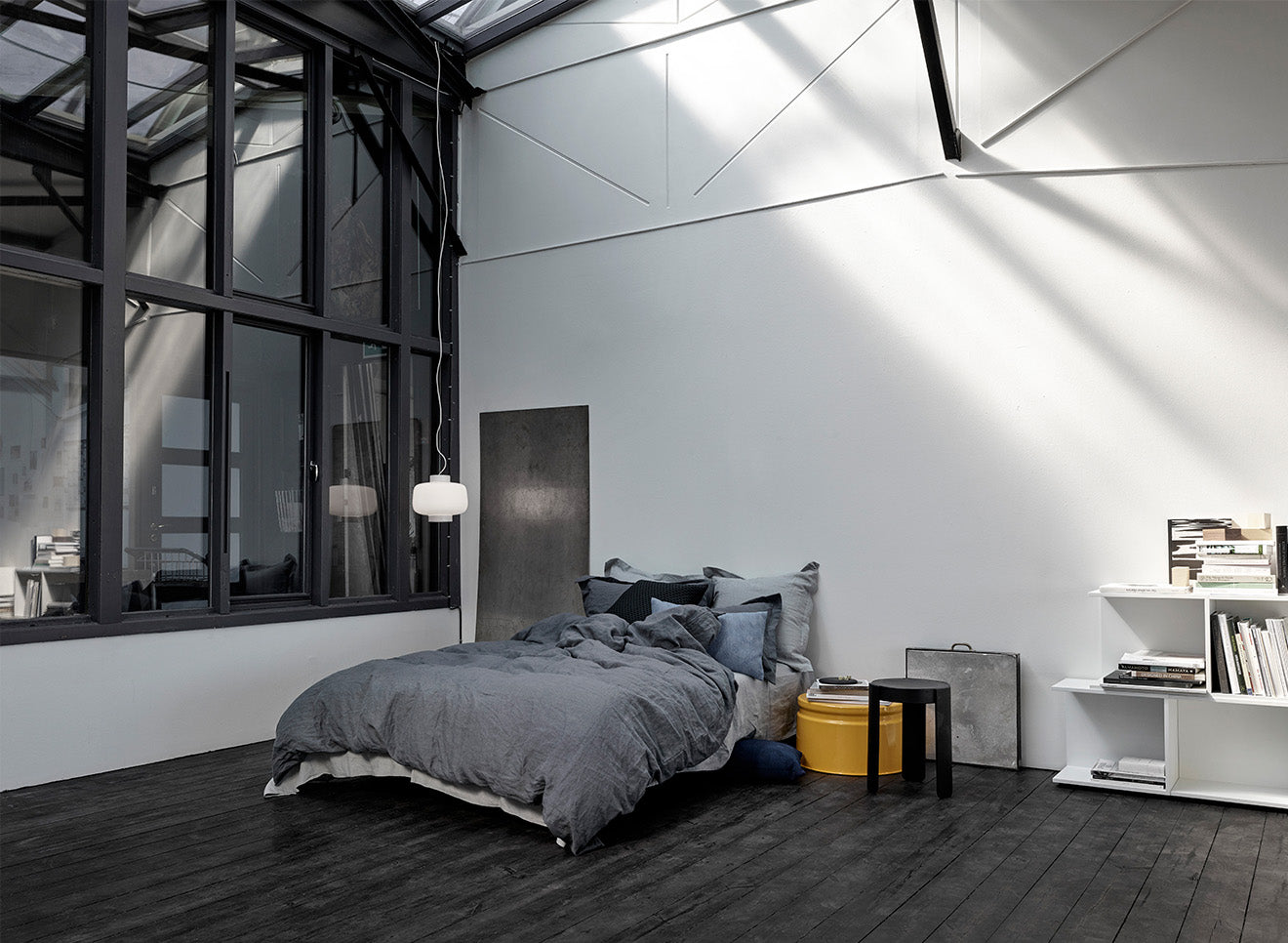 industrial black bedroom with furniture and lighting designs from Hem