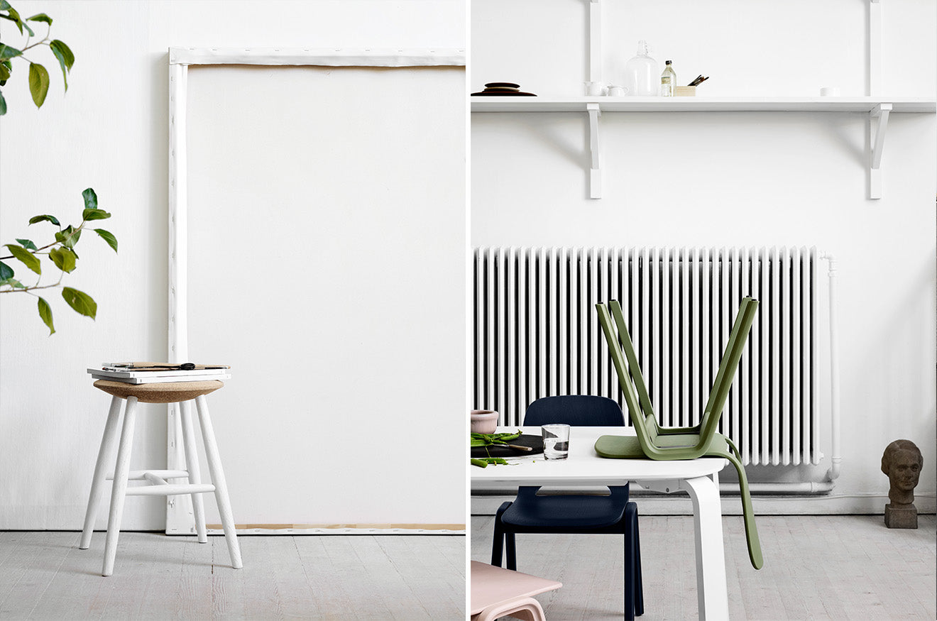 Scandinavian furniture design from hem white wooden stool in dining space