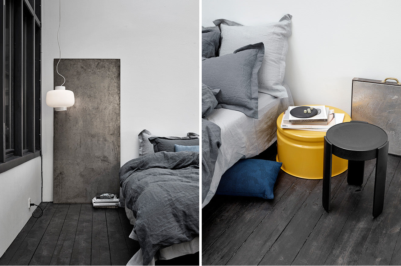 grey industrial bedroom style furniture from Hem Stockholm