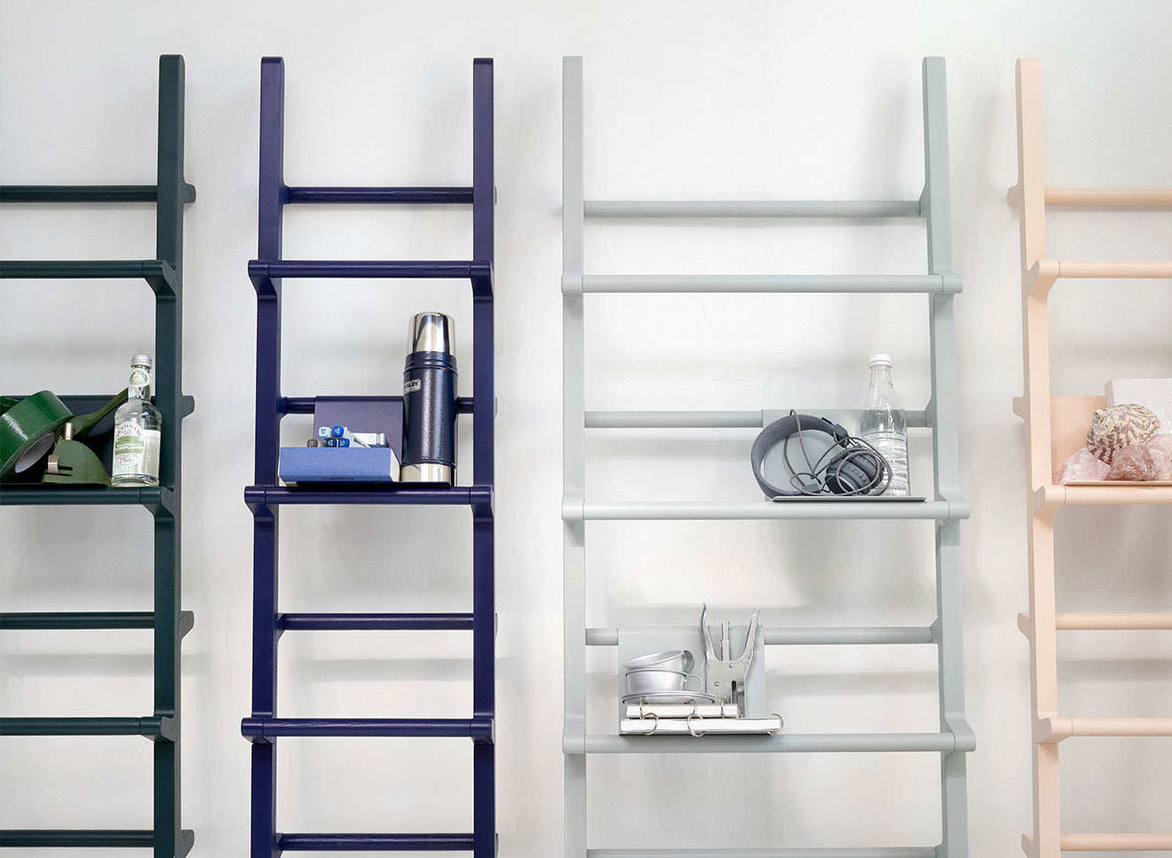 Hem ladder style display shelves in Scandinavian style space