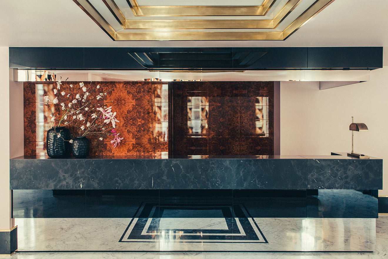 Retro boutique hotel Saint Marc Paris reception desk