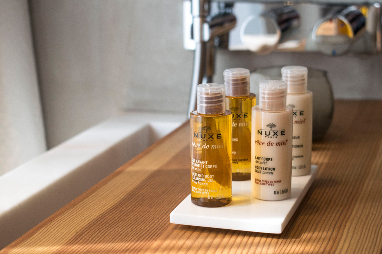 Nuxe luxury pamper products at Hotel de NELL