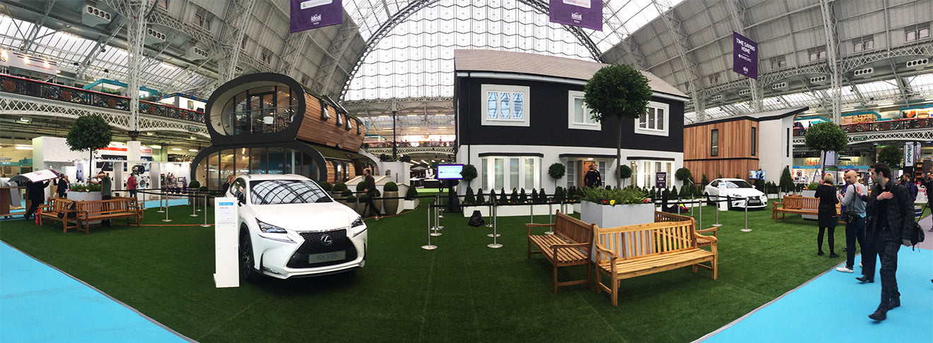 Ideal Home Show display houses panoramic image of Olympia