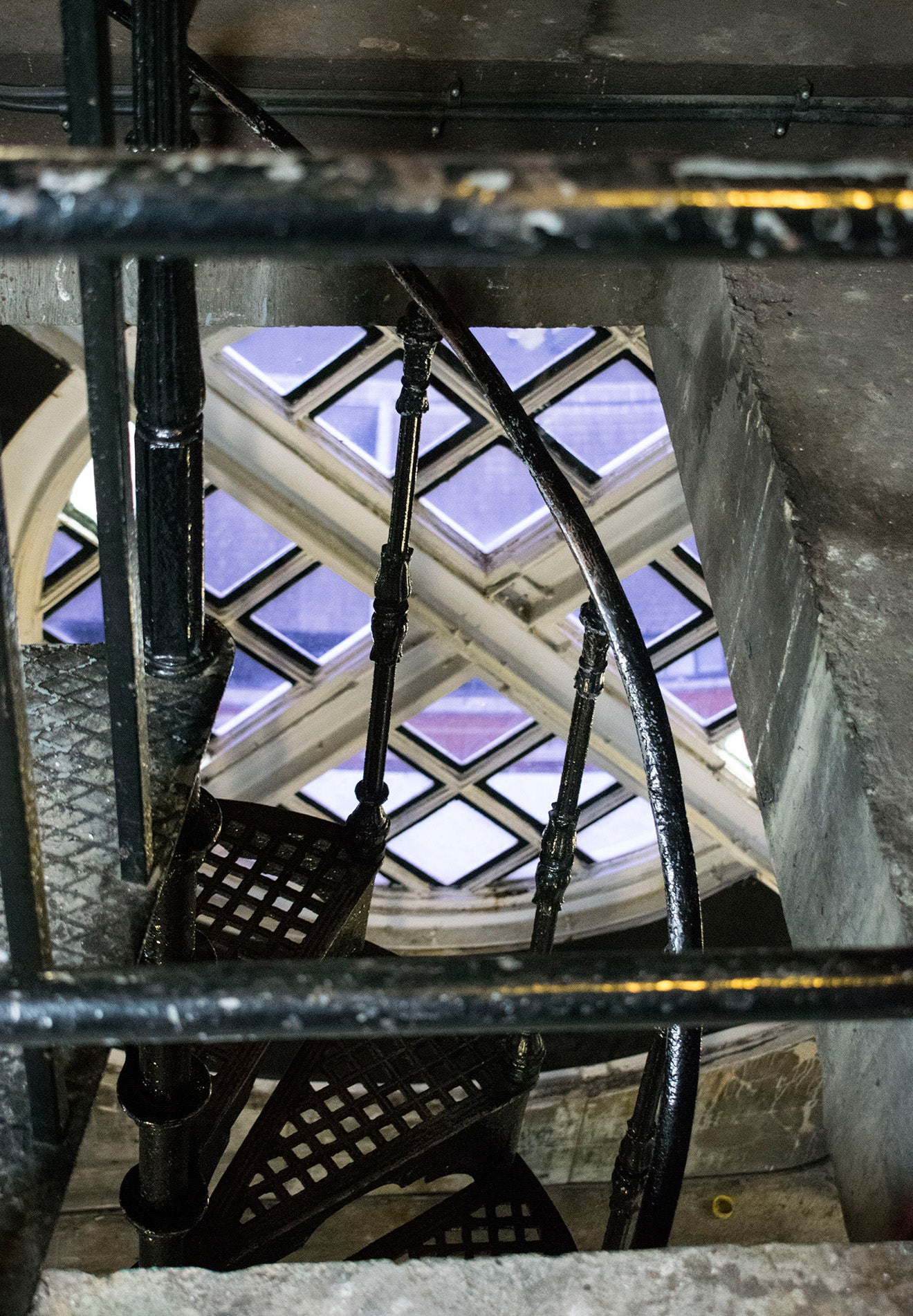 Industrial iron spiral staircase inside the OXO Tower London