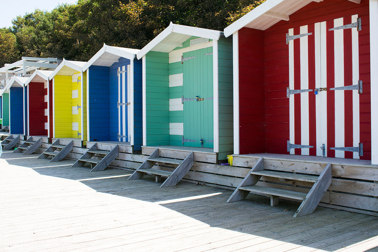 Isle of Wight colourful beach huts