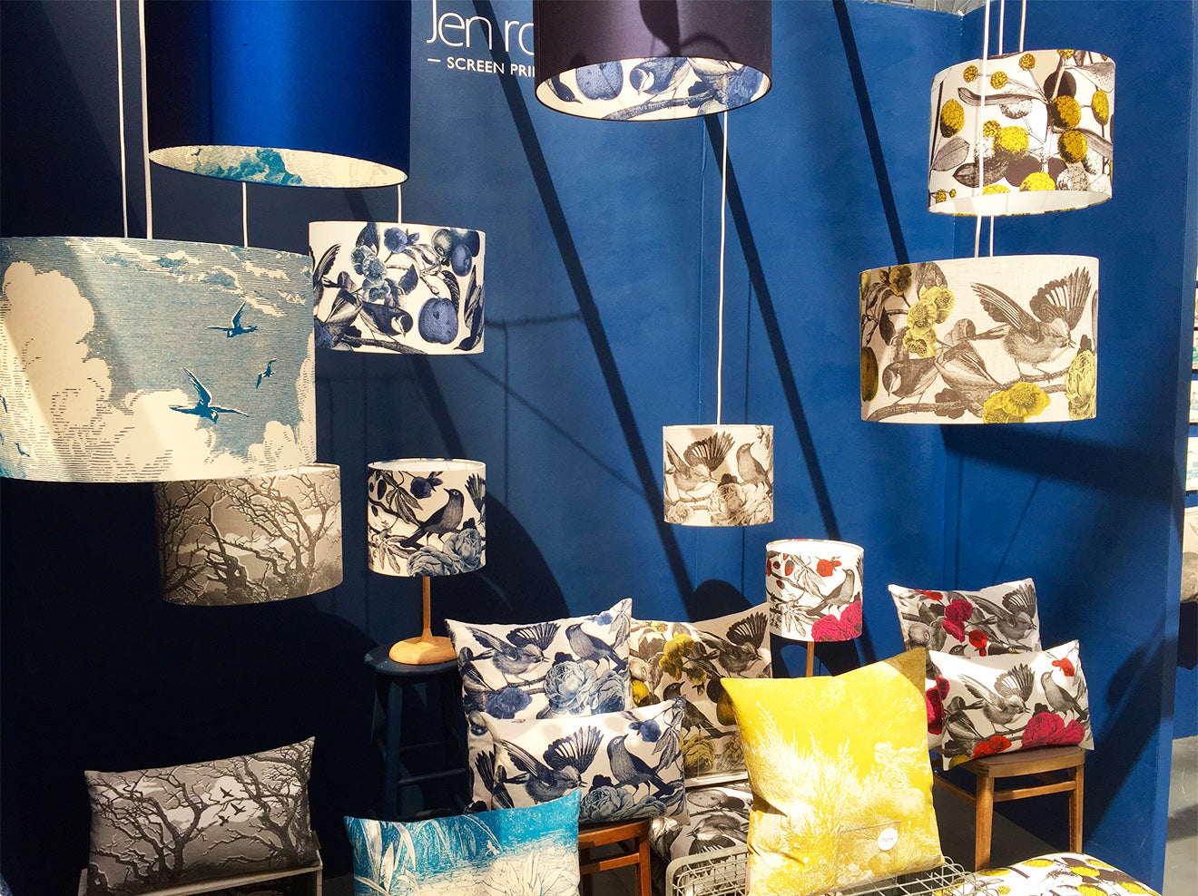 Designer lamp shades on display at Pulse Design London Olympia