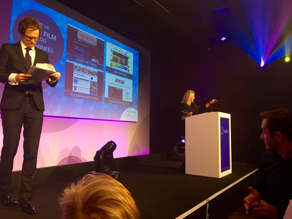 Joanna Arnold presenting an award at the Vuelio Blog Awards 2015
