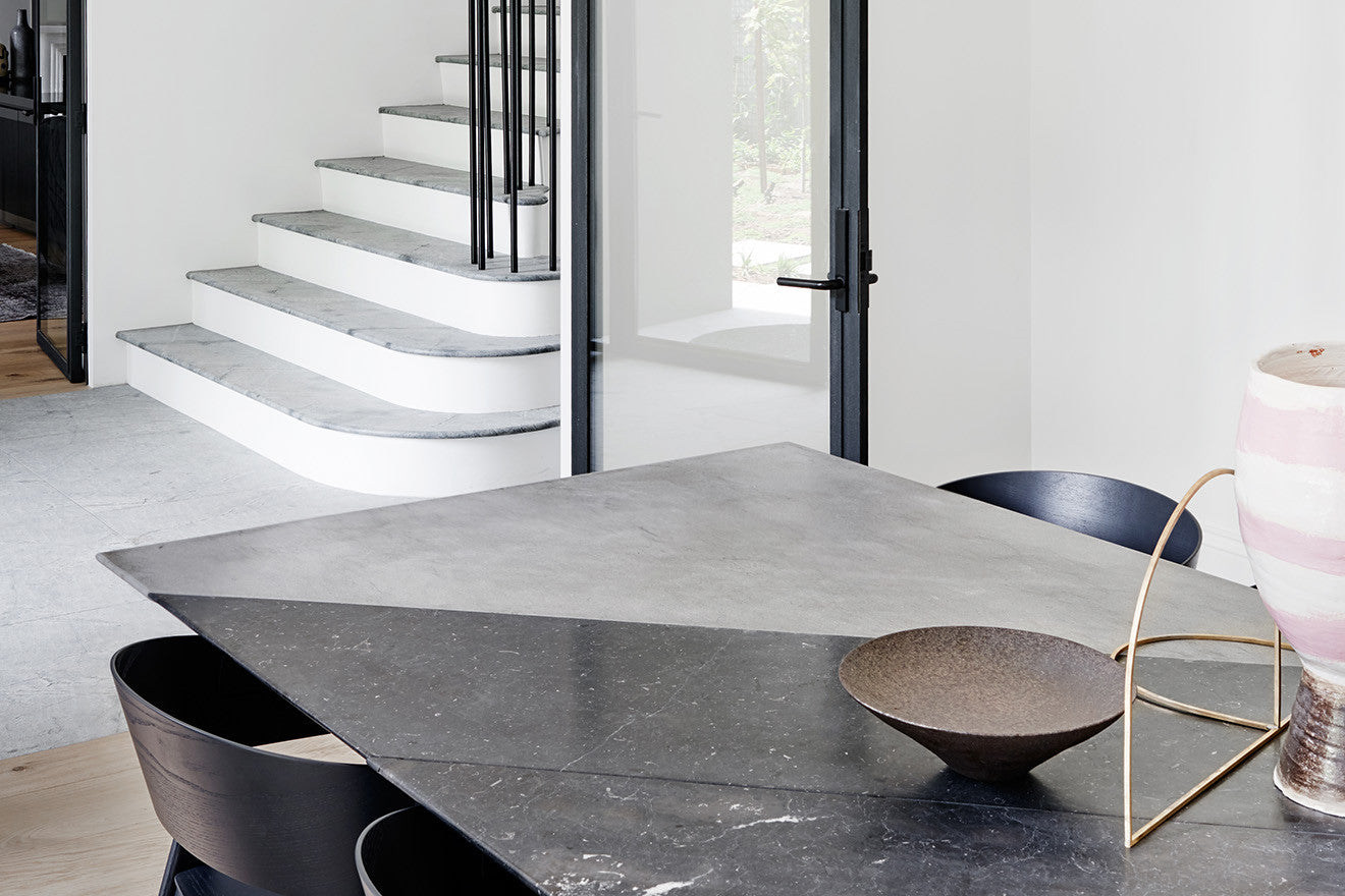 Gradient stone dining table interior design by Robson Toorak