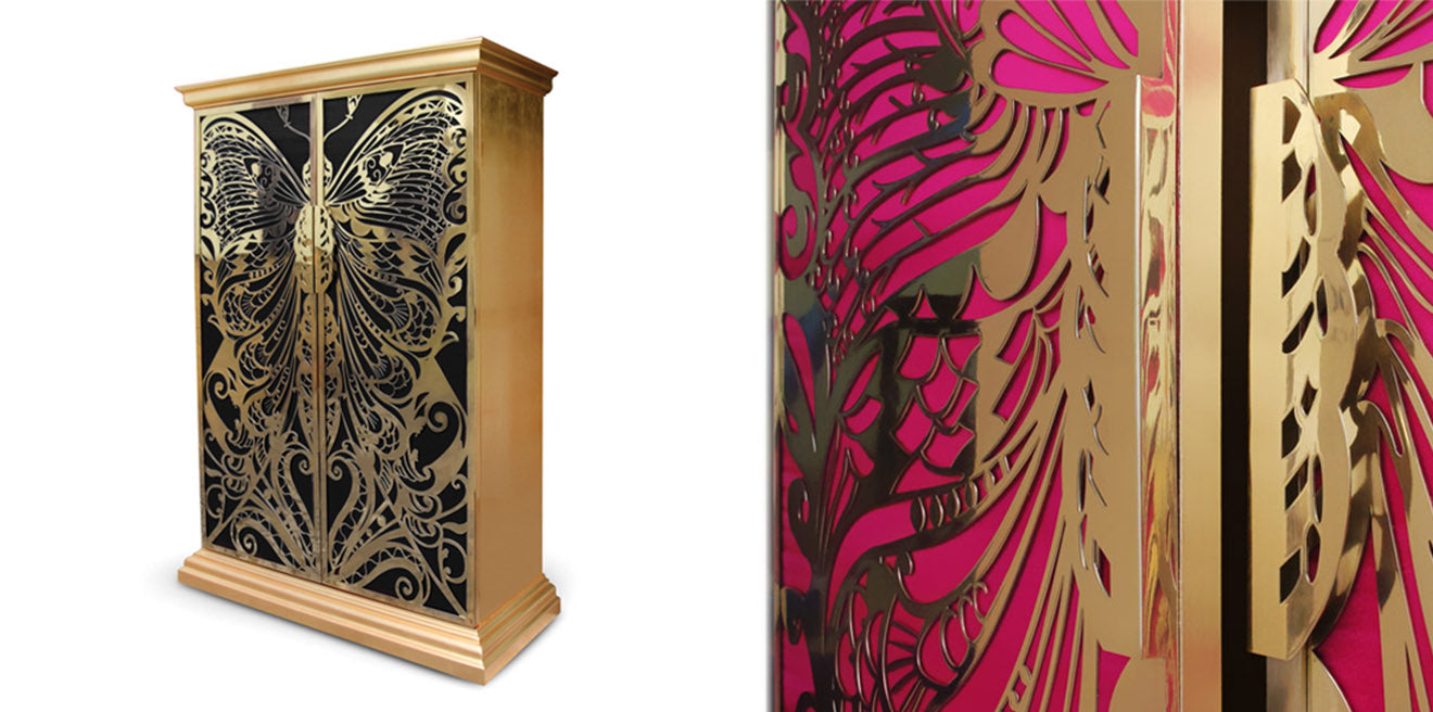 Koket Mademoiselle Armoire Pink and Black with gold