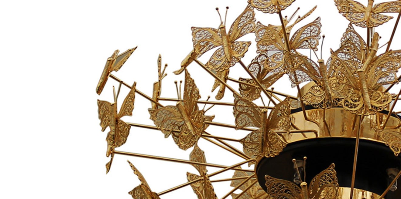 Koket Nymph gold butterfly chandelier detail