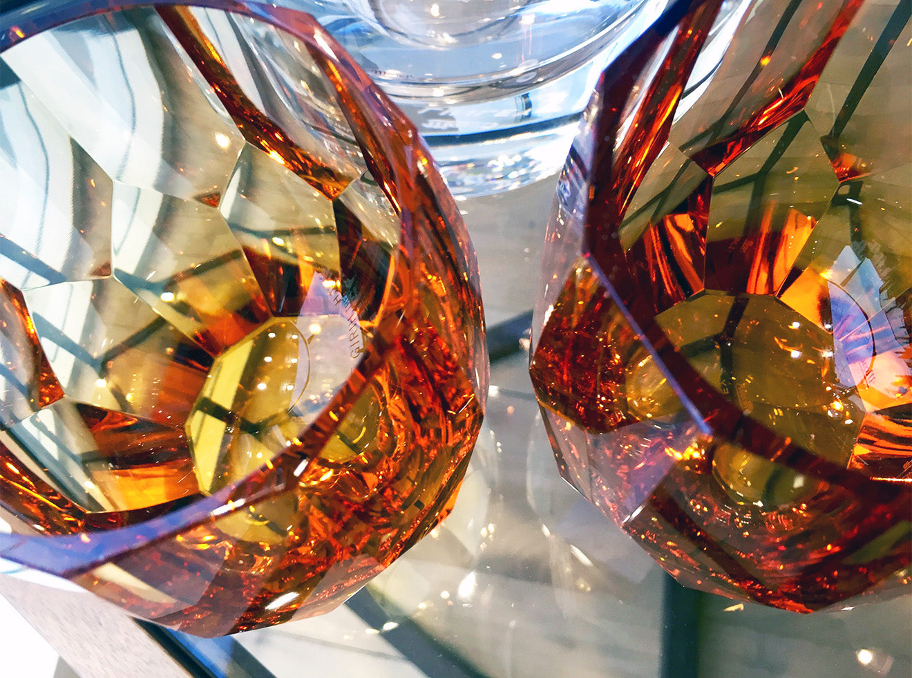 Amber coloured crystal glasses from LINLEY