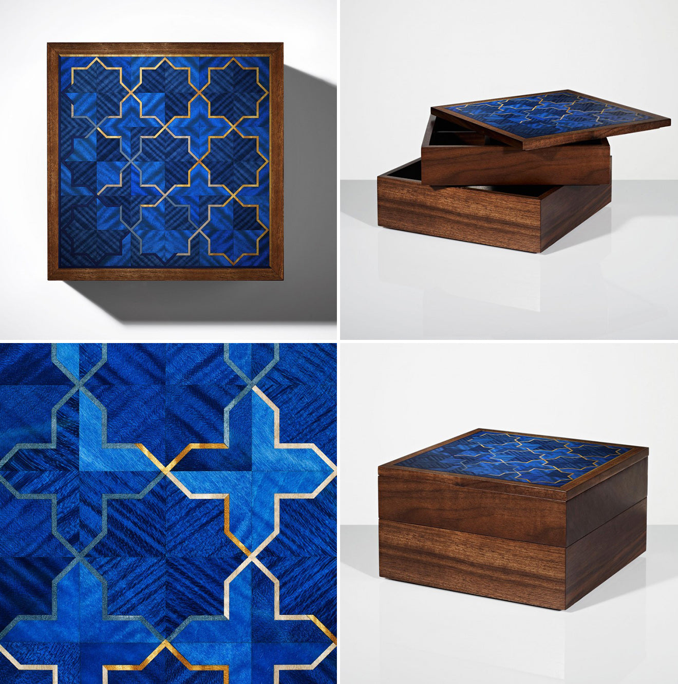 Beautiful blue islamic inspired jewellery and trinket box Girih collection from LINLEY