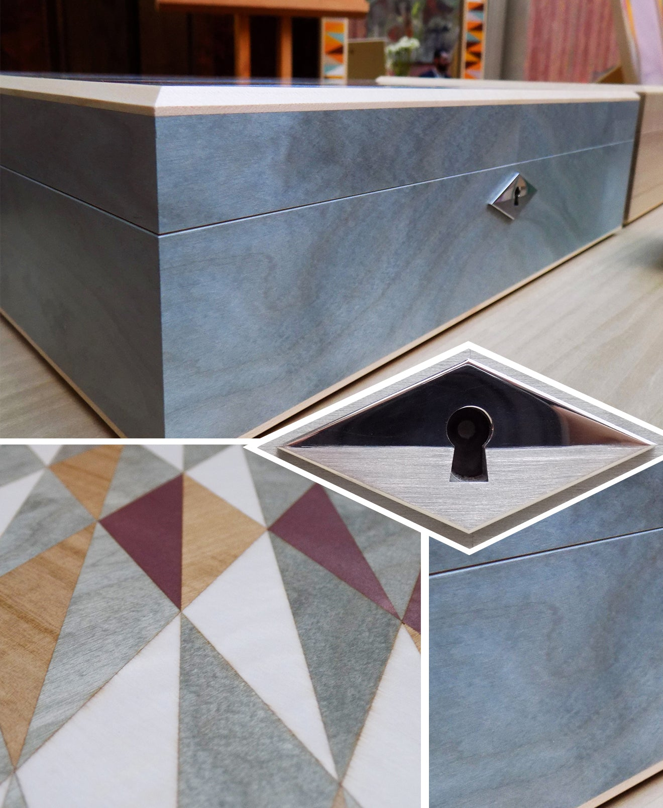 LINLEY New season collection marquetry diamond Jewellery box