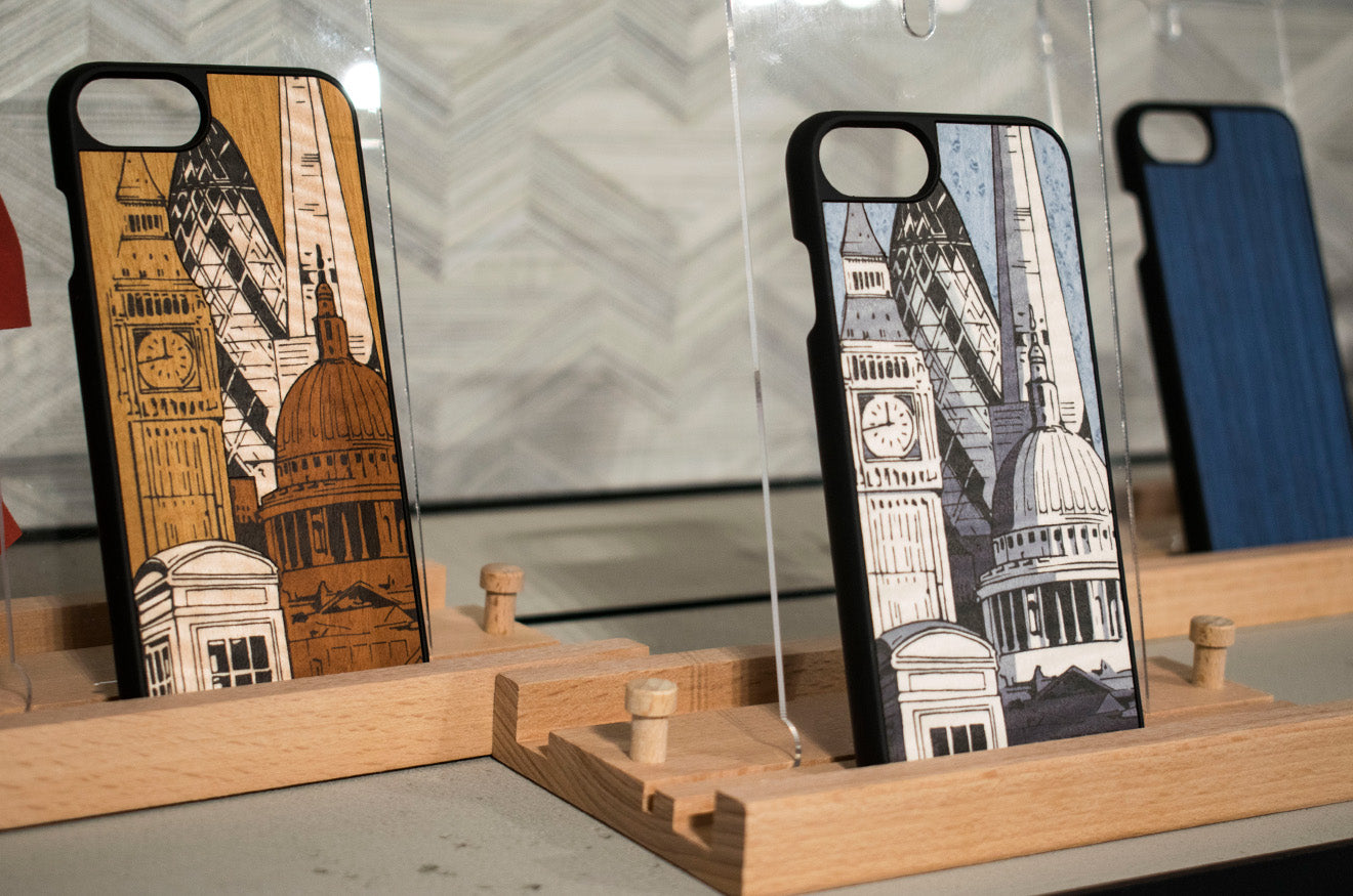 LINLEY London Skyline marquetry phone cases