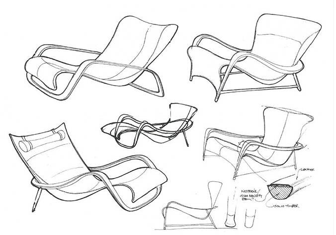 LINLEY Silhouette chair drawing designs