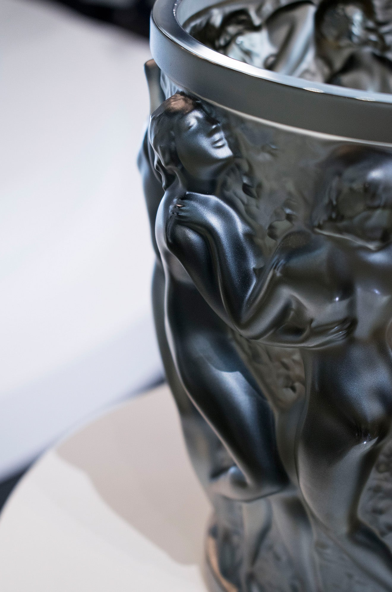 Black crystal Bacchantes Vase from Lalique