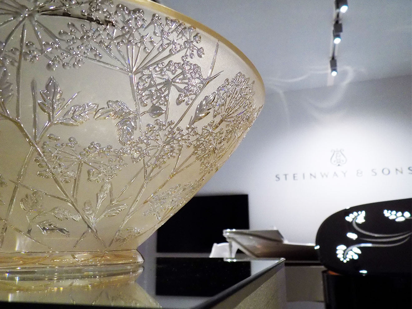 Lalique luxury crystal bowl in gold lust amber finish on display at Masterpiece 2016