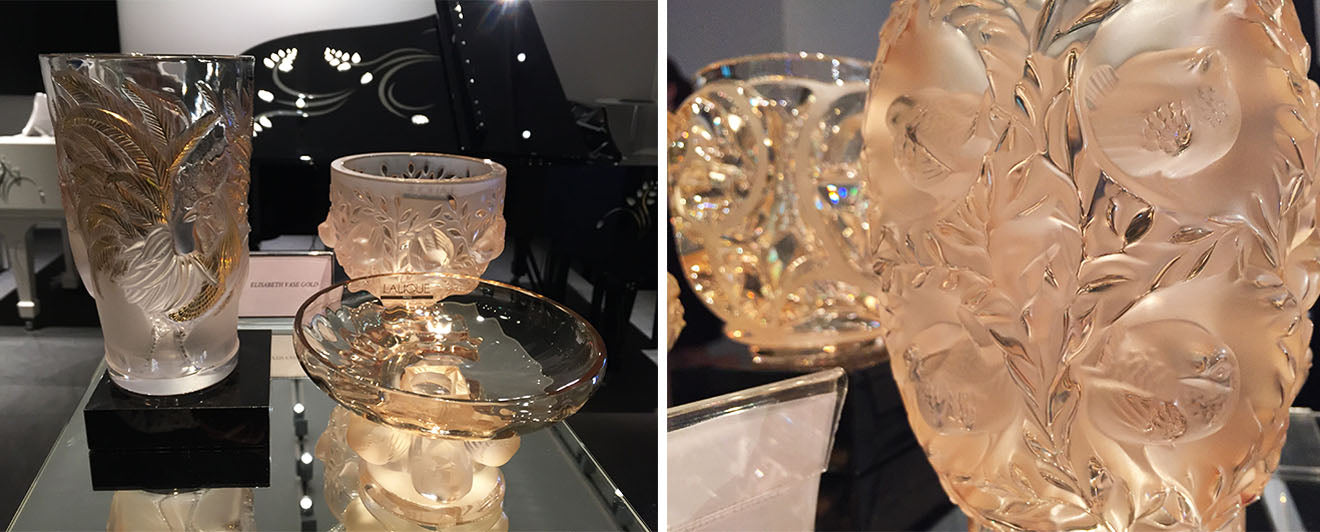 Lalique luxury crystal home accessories on display at Masterpiece London