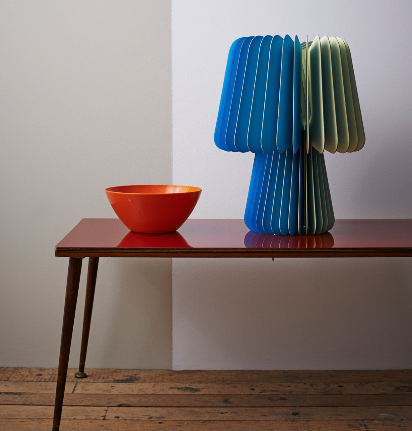 Lane Beam Table Lamp in Blue and Sorbet Yellow