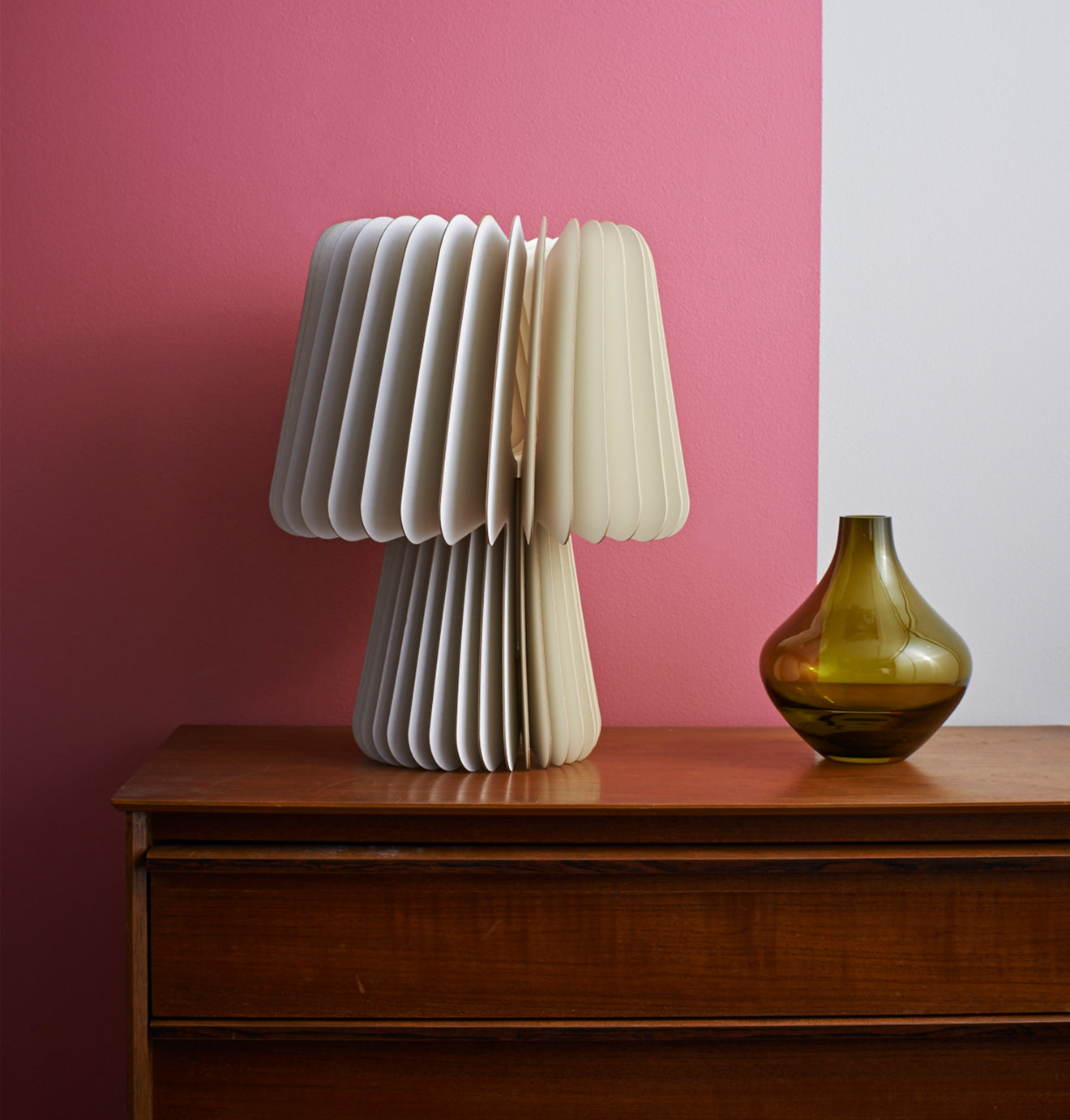Lane Beam Table Lamp in Pale Grey and China White