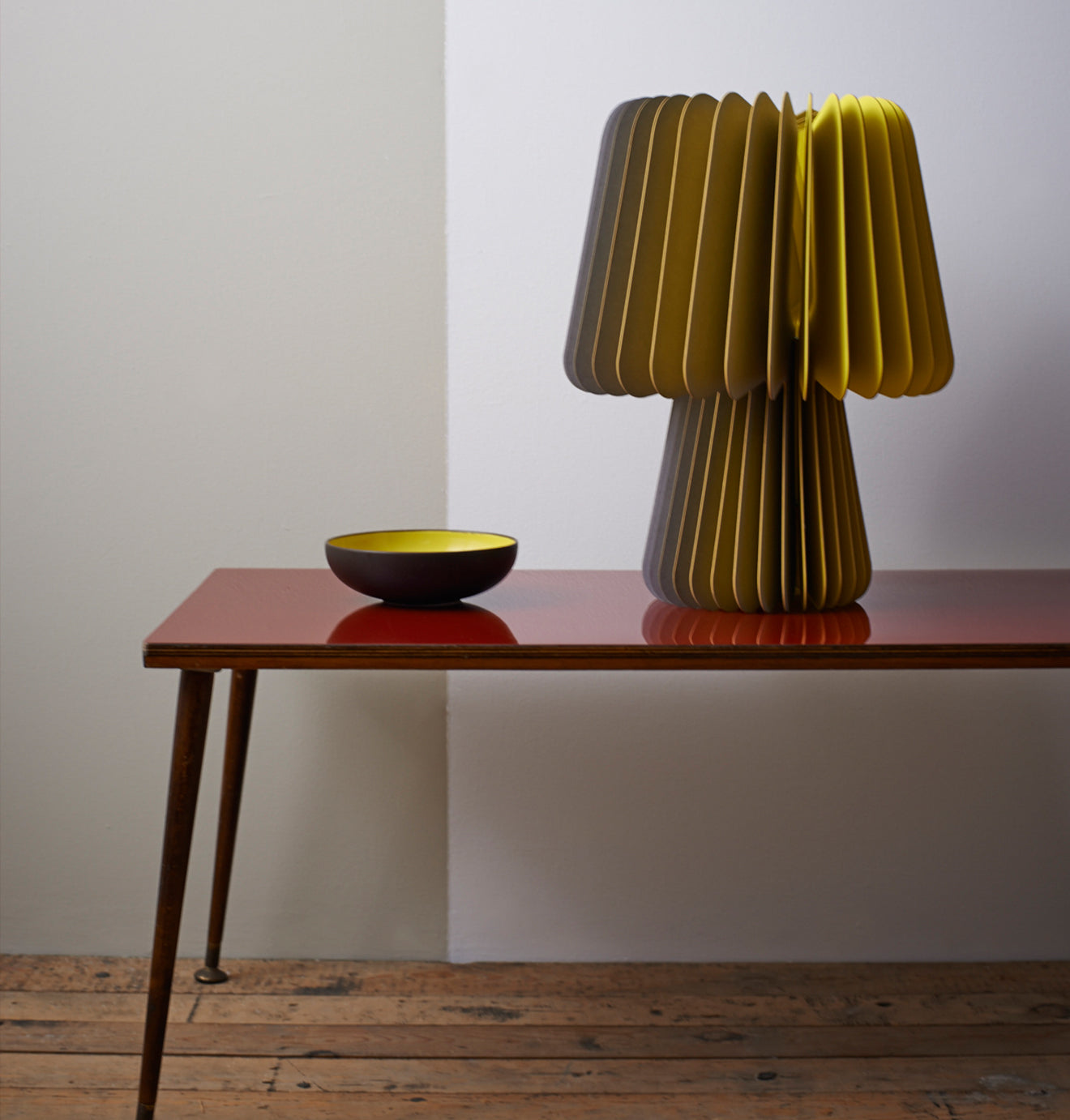 Beam Table Lamp in Smoke Grey and Factory Yellow from Lane