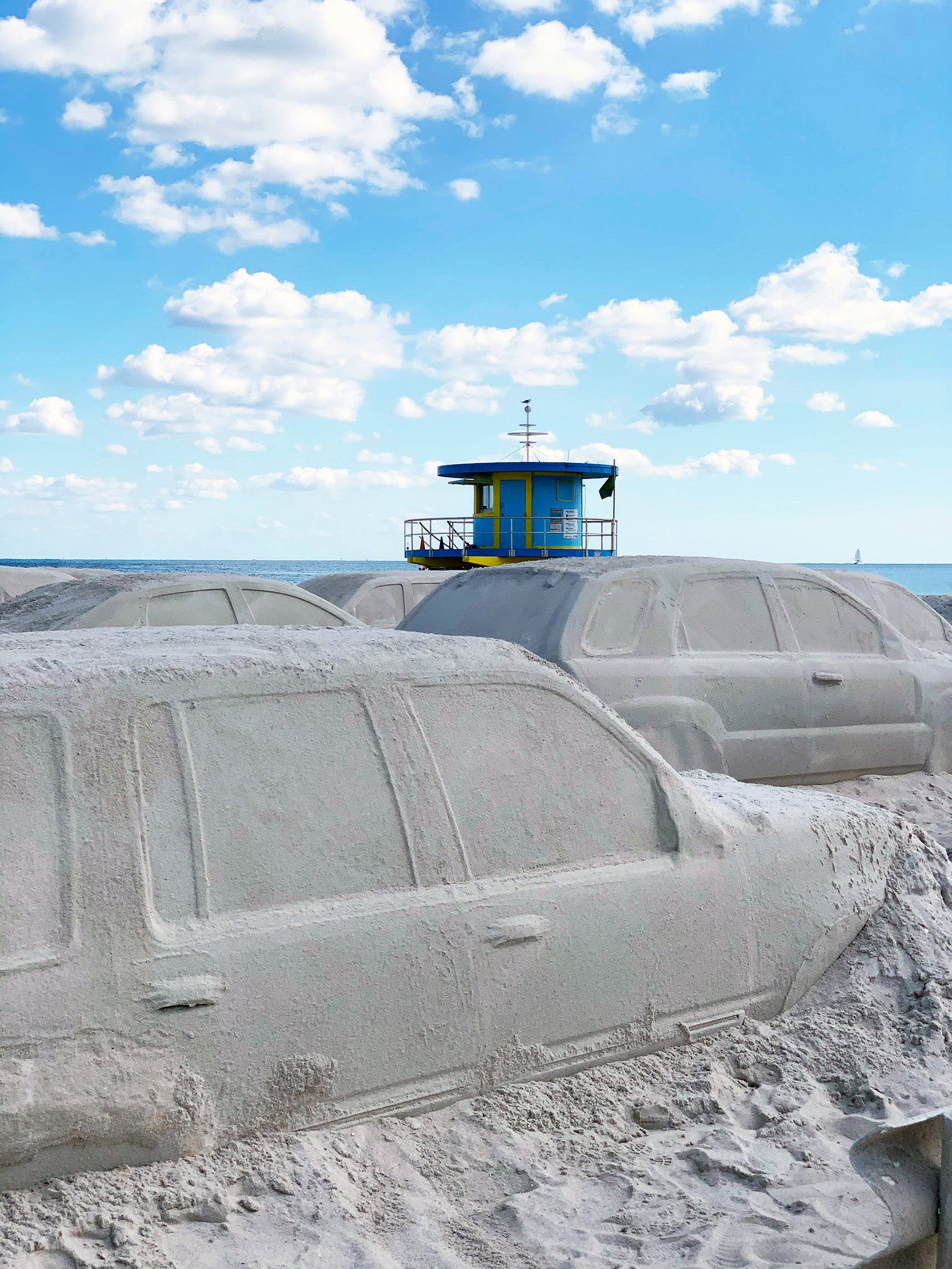 Leandro Erlich creates a sand traffic jam on Miami Beach during Miami Art Week with his sand installation 'Order of Importance'