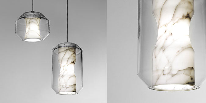 Lee Broom Carrara Marble Chamber light pendant large and small