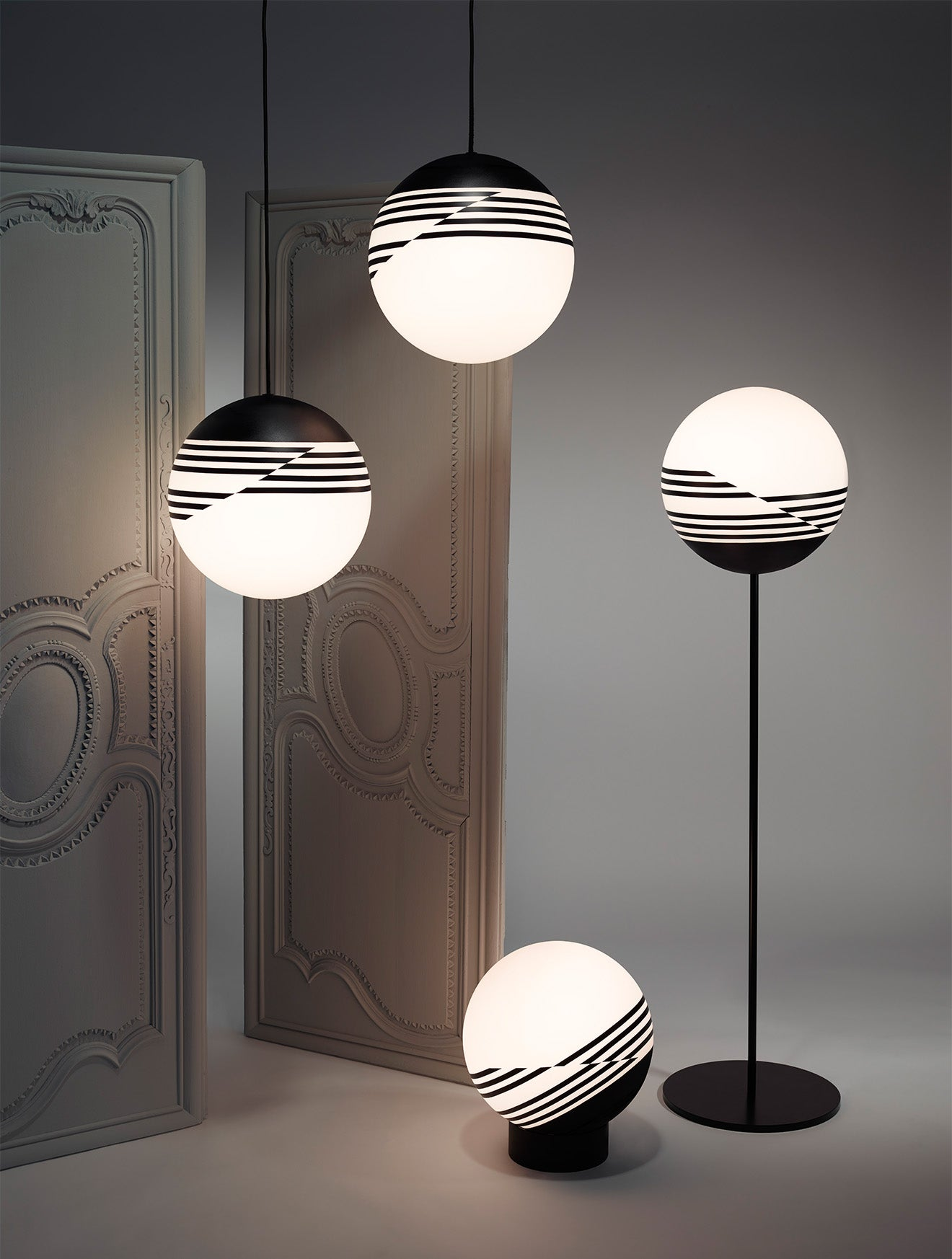 Lee Broom Optical collection Launched at Salone Milan black pattern and glass lighting designs