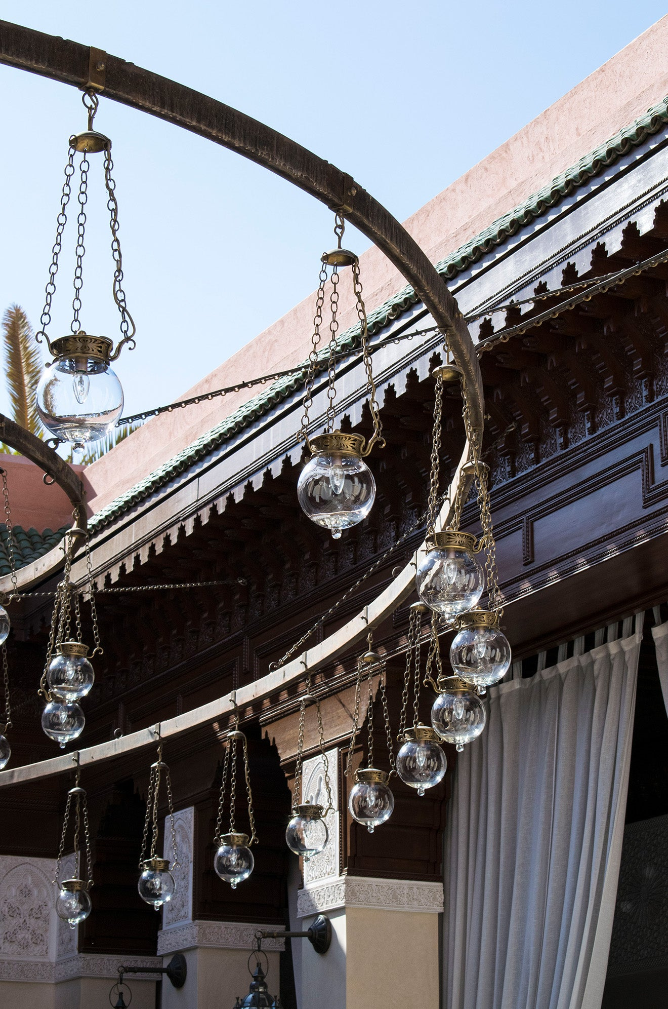 Lanterns suspended above the Central Courtyard Royal Mansour Marrakech