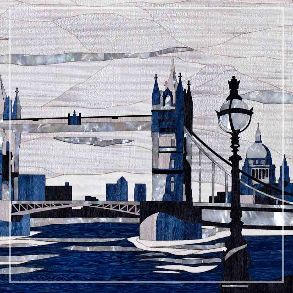 LINLEY London landmark marquetry detailing Tower Bridge