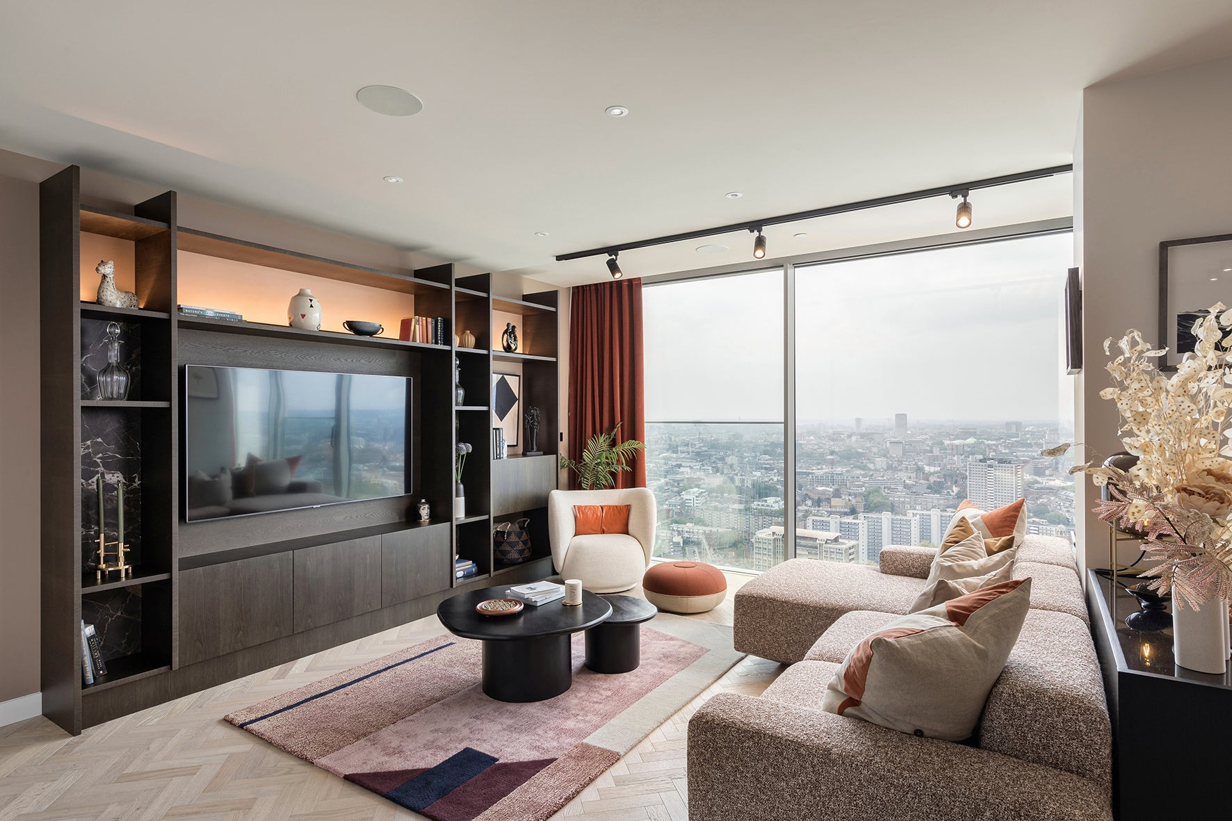The living area, luxury apartment 250 City Road, London Valencia Tower