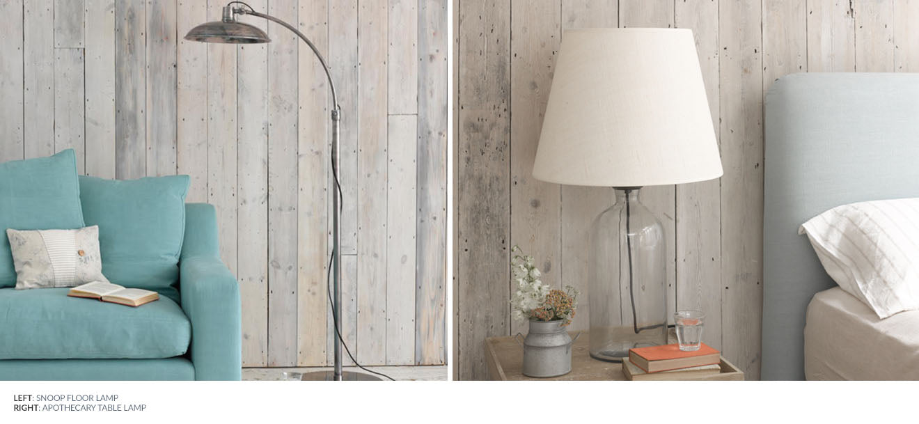 Rustic glass base table lamp and antique style snoop floor lamp