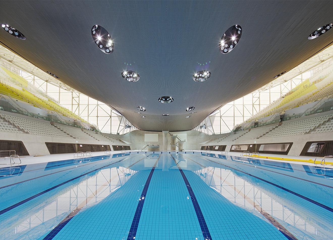 Aquatics centre London during the olympic games