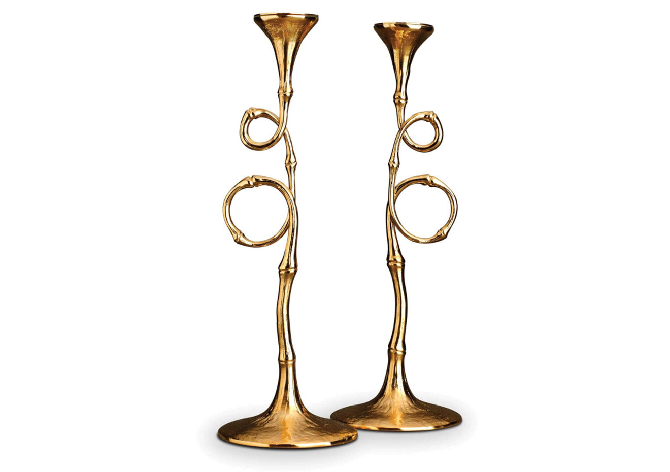 Twisted bamboo effect brass candle sticks from Evoca and Luxudeco