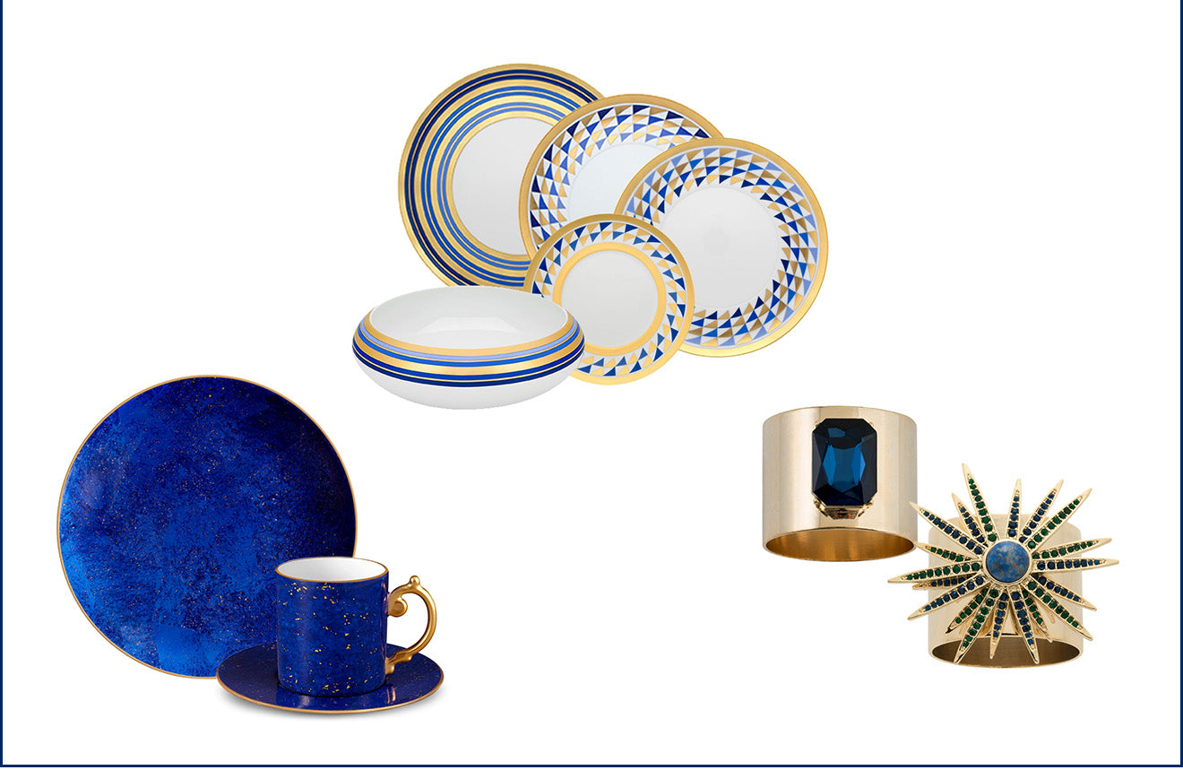 Luxdeco Blue and Gold Crockery