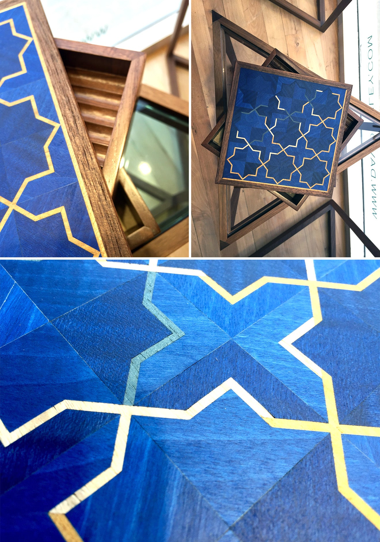 Luxury blue islamic inspired marquetry from the LINLEY Girih collection