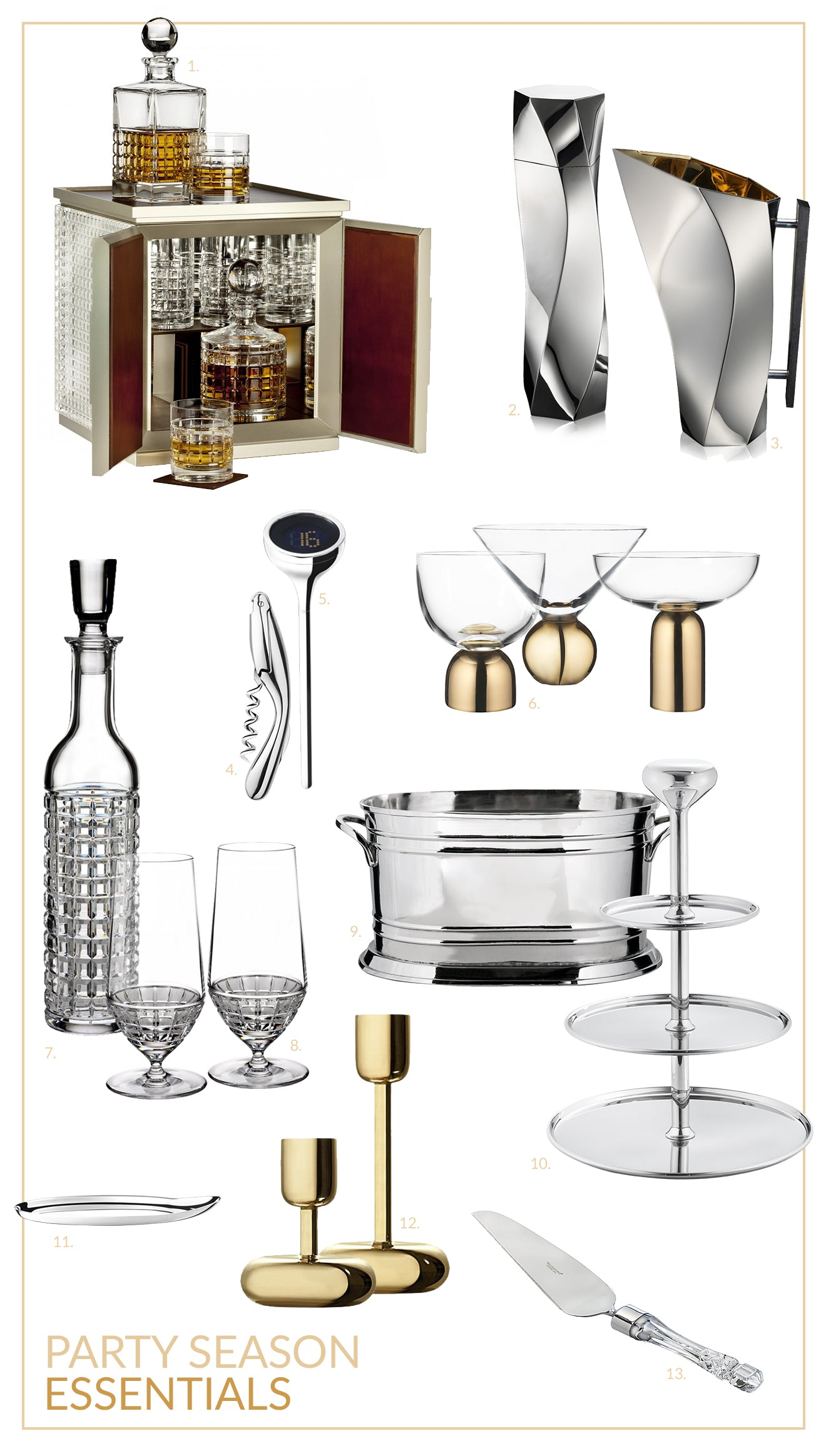 Luxury party essentials crystal glassware tableware decorations London desktop bar