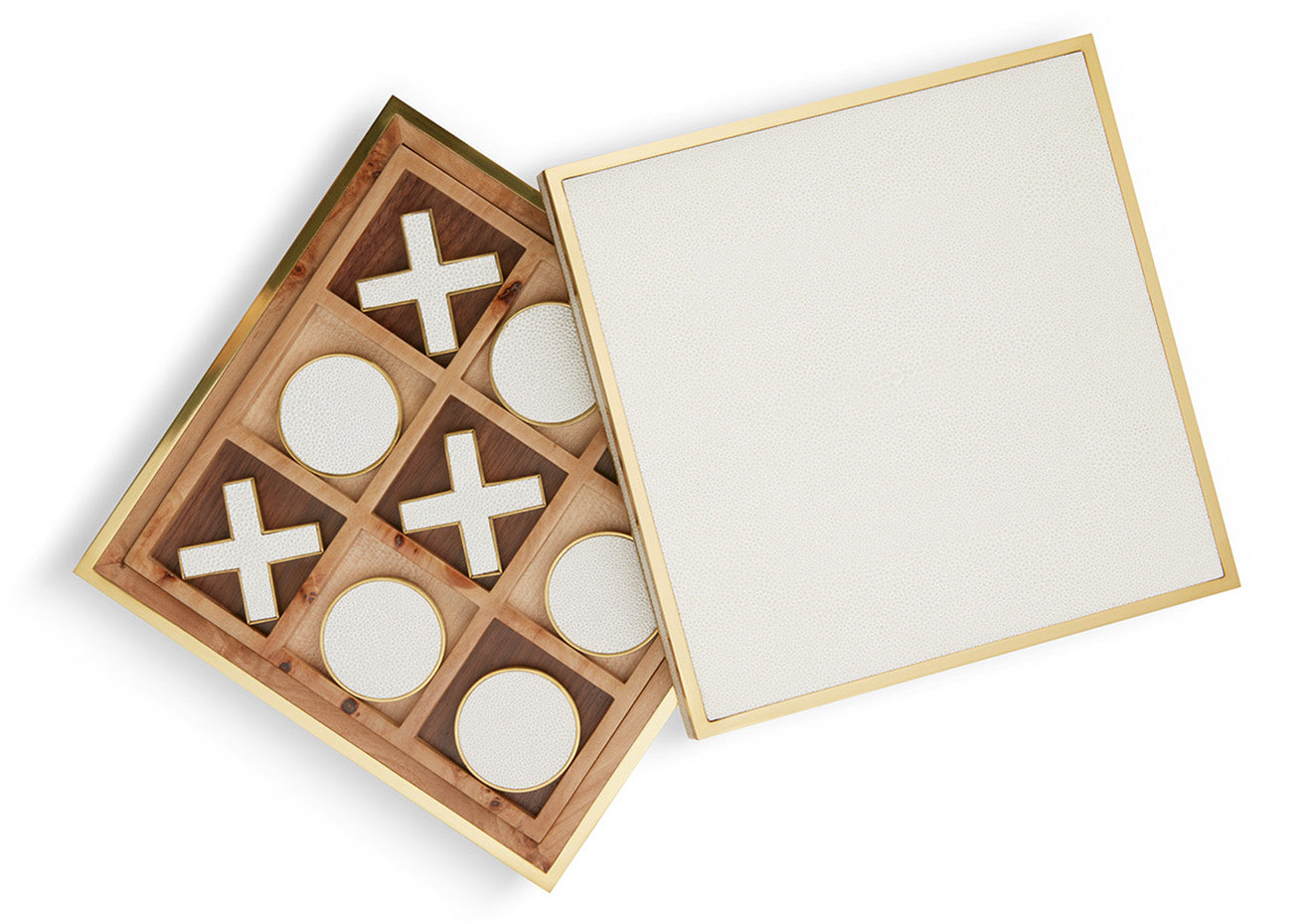 luxury tic tac toe wooden gift set with brass and cream lid