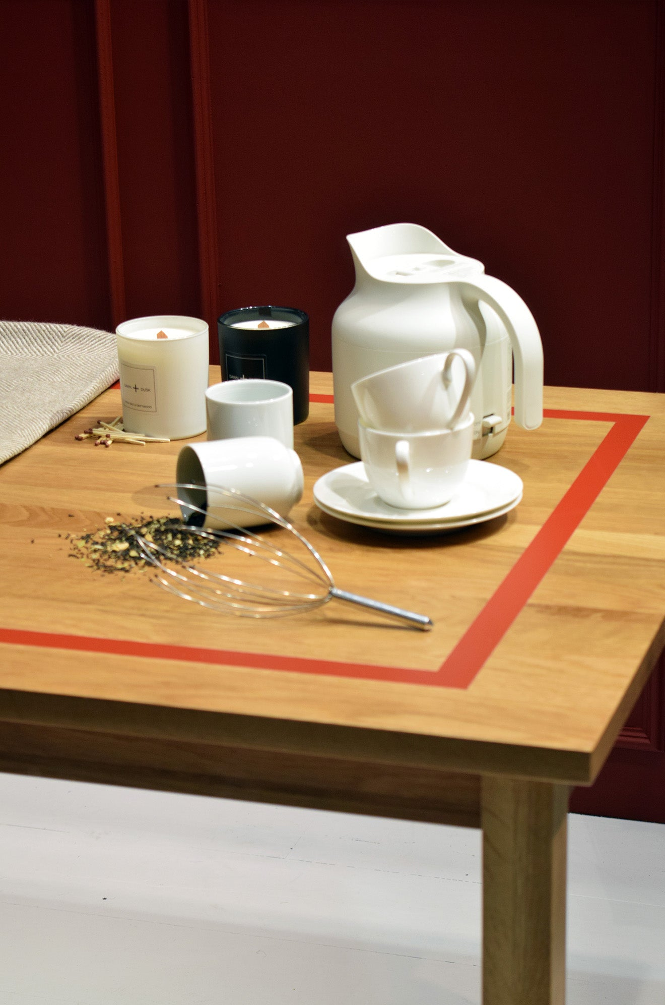 Luxury tea set on display at MUJI London