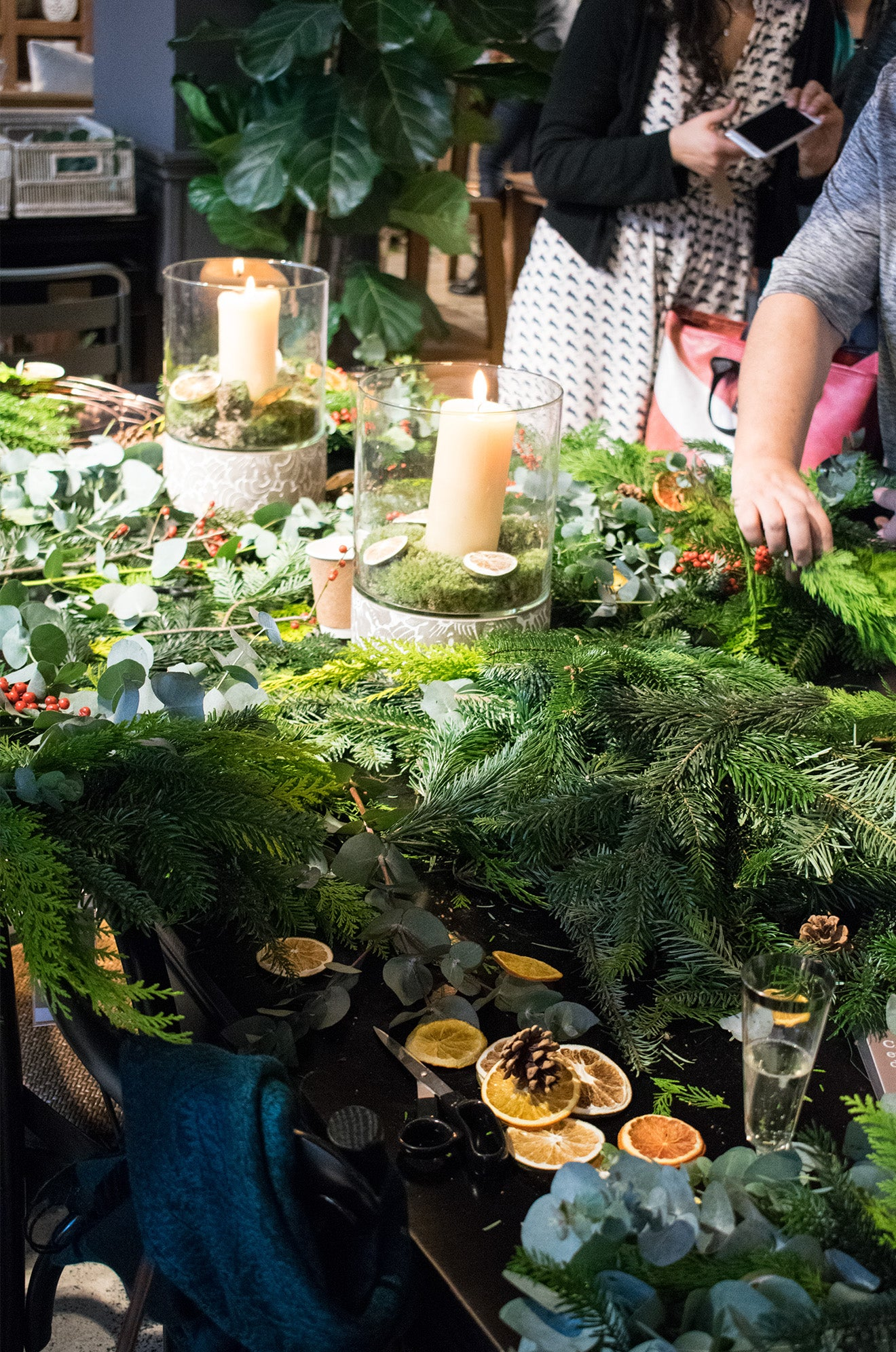 Lombok Christmas wreath making in their London Store