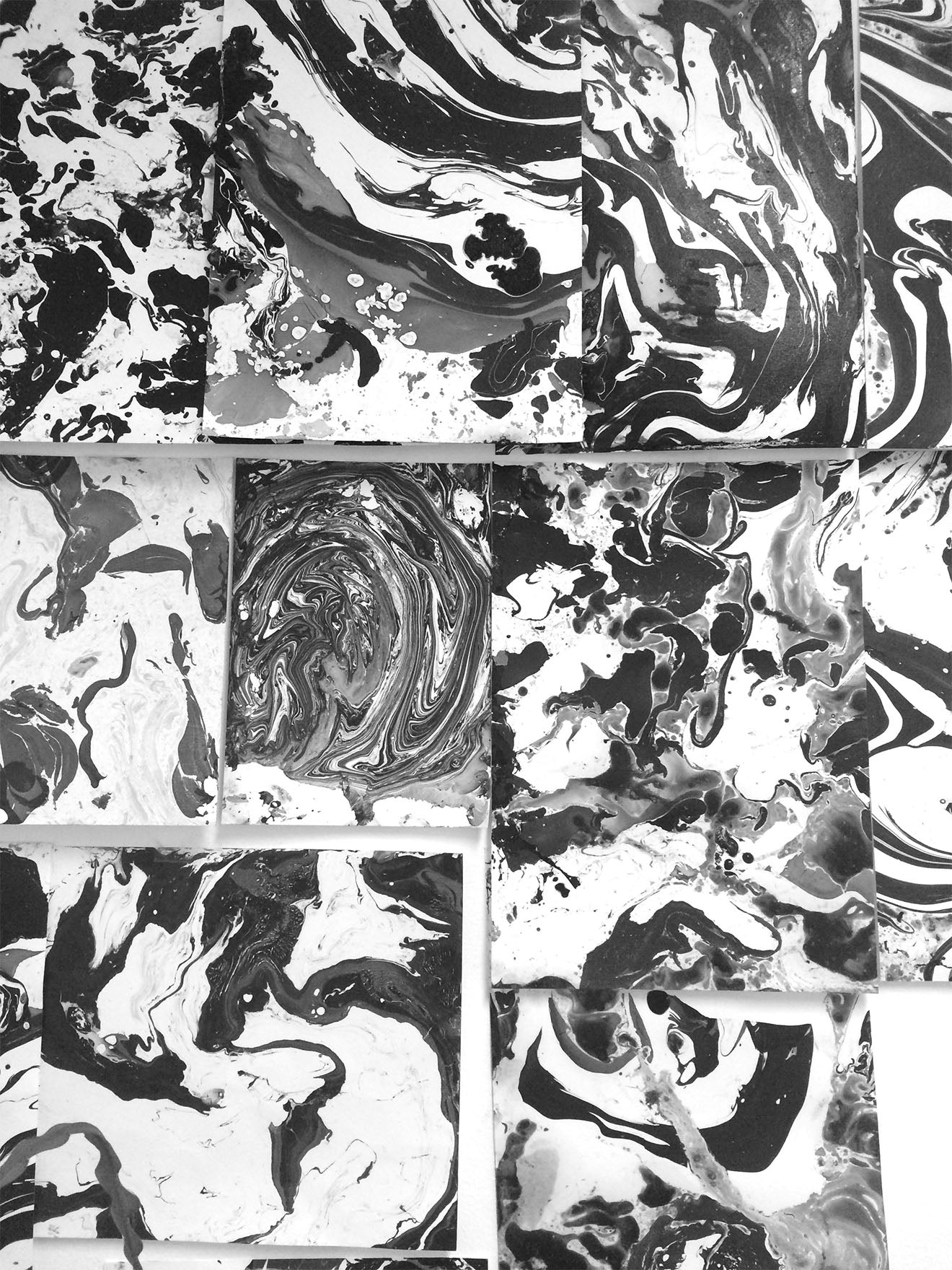 black and white marbling panels from Patternity