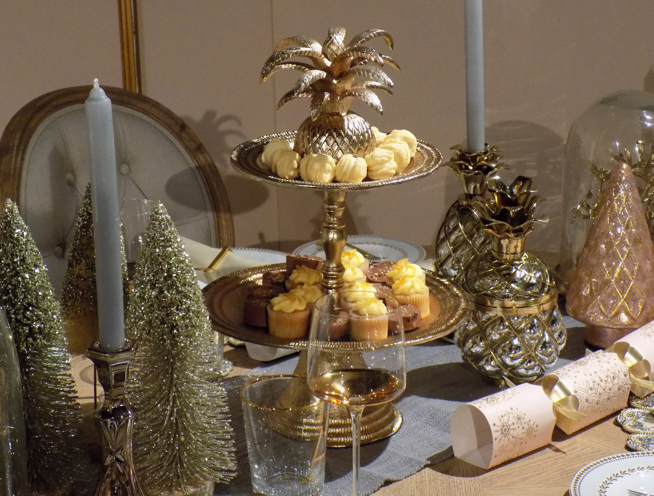 Marks and Spencer Christmas table decorations in gold