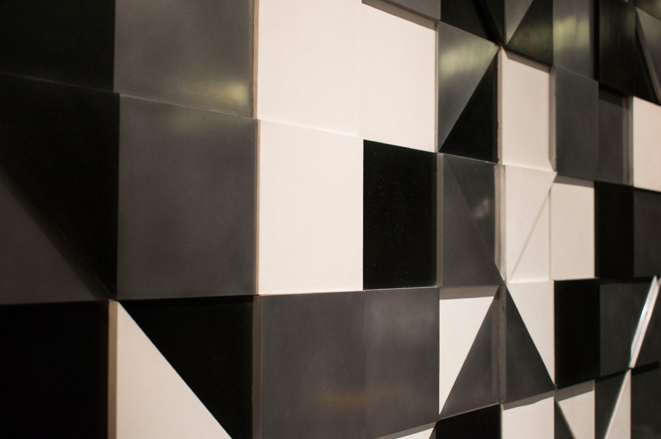 Black and white geometric style artwork at Masterpiece London