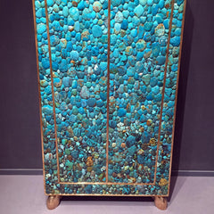Teal gemstone cabinet design