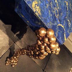 Blue marble sideboard with gold bobble legs