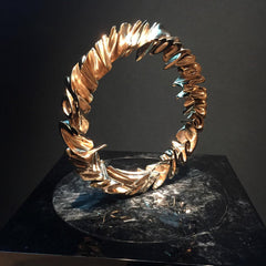 Modern textured gold ring art