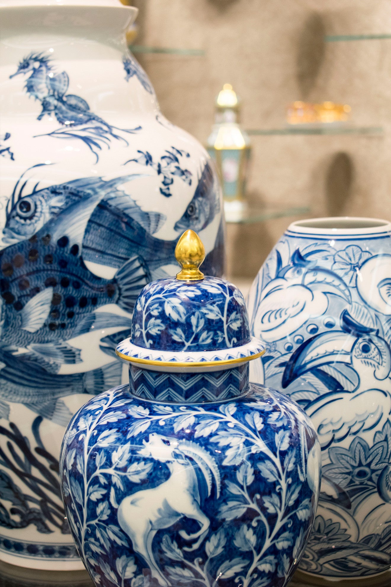 Meissen Blue decorative vases with lids Harrods London