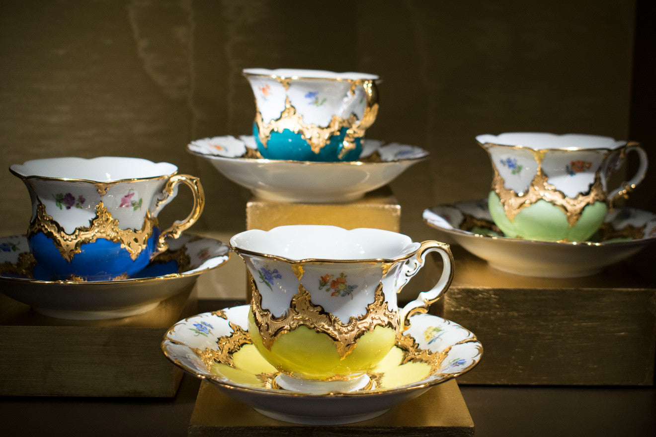 Meissen luxury tea cups and saucers in multiple colours