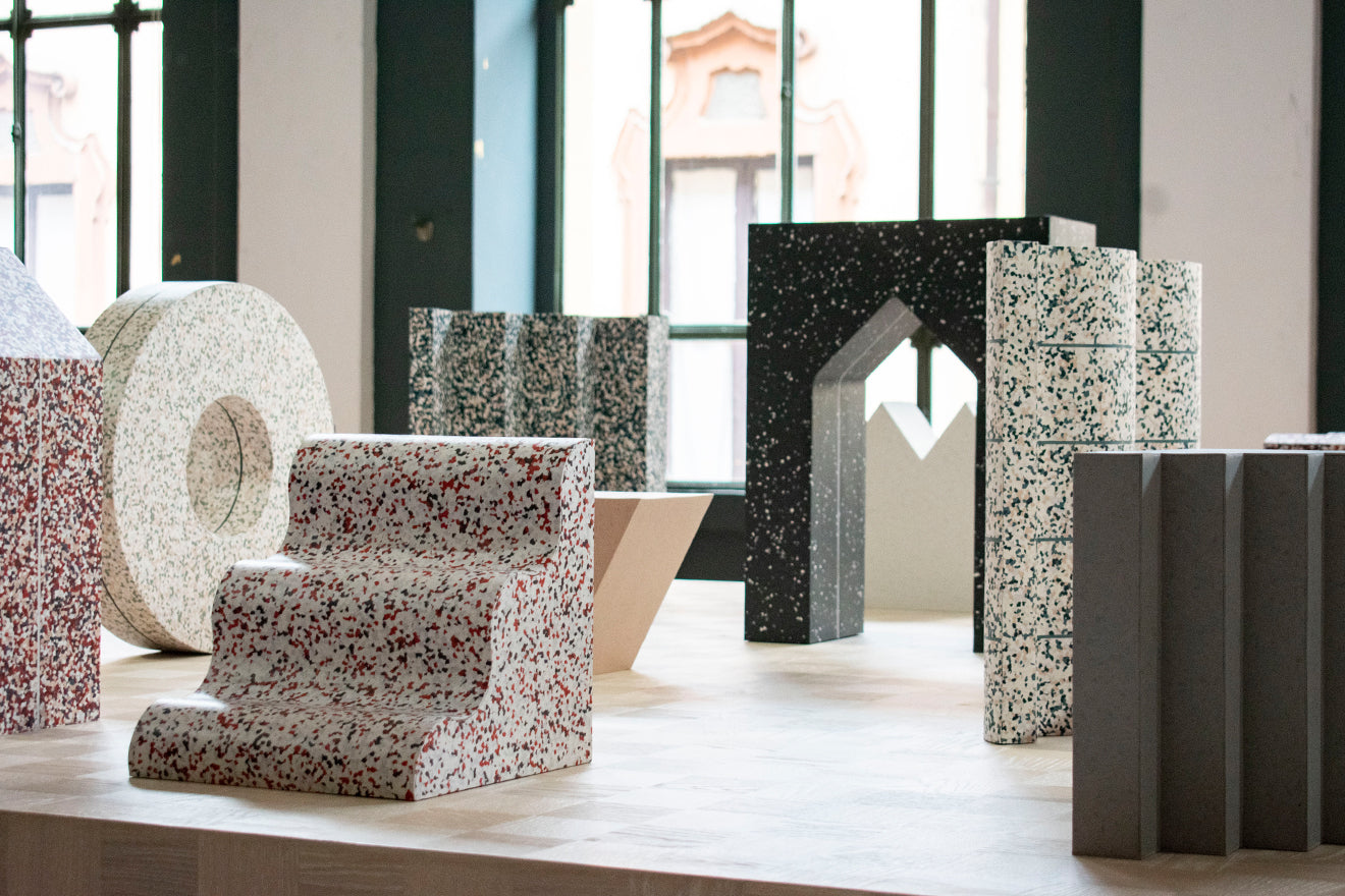 Note Design Studio Formations installation during Milan Design Week featuring Tarkett's IQ Surface